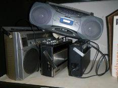 A Toshiba cassette radio, A Grundig party boy, A Ferguson FM radio and a Sony cd/radio.
