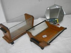 An art deco free standing mirror and 2 art deco wood and glass fruit bowls, all in good condition.