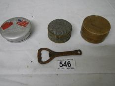 A boxed silver plated collapsible spirit cup, a similar Niagara Falls souvenir cup,