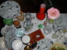 A mixed lot of assorted glass and ceramic items.