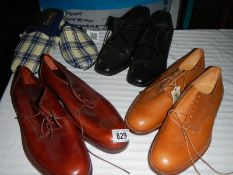 3 good pairs of men's shoes and a pair of slippers.