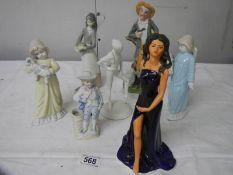 A good lot of assorted figures including Coalport bisque Royal Ballet figure, 7 in total.