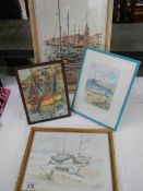 4 framed and glazed nautical scenes including watercolours.