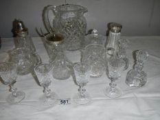 A good lot of but glass including candlesticks, sugar sifters, jam pots, jugs etc., (14 items).