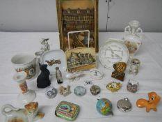 A mixed lot including Osborne plaque, Royal Worcester Prisoner of War dish, Wade,