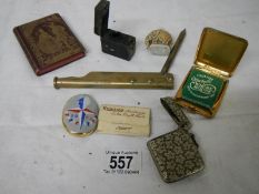 A mixed lot including silver plate vesta case, match holder, elephant scent bottle etc.
