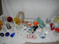 A mixed lot of glass ware including some Wedgwood and Delft.