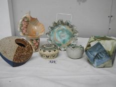 6 items of Studio pottery including Carn Pottery, Cornwall.
