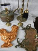 A mixed lot of old brass and copper ware.