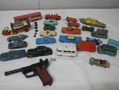 A quantity of Playworn Dinky, Matchbox, Lone Star, Budgie die cast toys.
