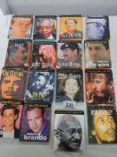 16 small books being biographies of famous people.