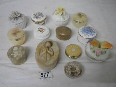 A collection of pill and trinket boxes including Willowtree, Aynsley, Coalpoat etc.