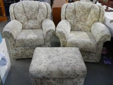 A pair of good clean arm chairs with matching footstool.