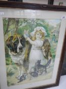 A framed and glazed print of a young girl with a St. Bernard dog.