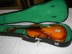 A late 20th century cased violin, a/f.