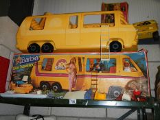 A 1970's Barbie 'Star Traveller' motor home with box and a boxed camping dune buggy with original