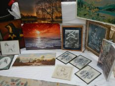 Approximately fifteen assorted pictures including dog studies, Cries of London prints etc.