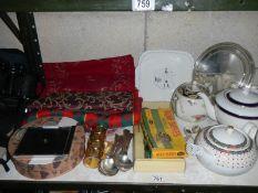 A mixed lot of teapots, Wade, cutlery, fabrics etc.