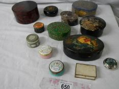 A mixed lot of trinket boxes including lacquered.