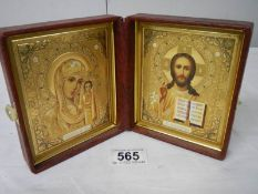 A good religious 'Dyptich' icon, late 20th century, 13 x 11 cm,