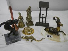 A mixed lot of brass ware including miniature lantern, marble base figure etc.