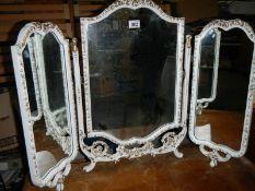 A good quality white triple dressing table mirror.