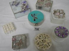 8 assorted pill and trinket boxes including enamel.