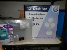 2 foldable shelf units, plastic card holders and a DOCBOX60.