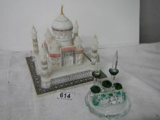 A good alabaster model of a mosque (base 18 cm square) together with a glass model of a mosque with