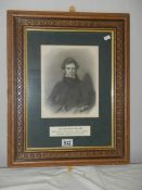 A framed engraving of Sir Joseph Banks, 1743 - 1820.
