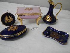 5 good pieces of Limoges porcelain including pink trinket box.