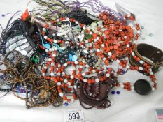 A mixed lot of unsorted costume jewellery.