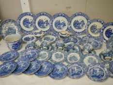 A large quantity of old blue and white china including Spode Italian, Old Alton ware etc.