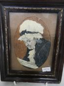 A framed watercolour portrait of an elderly lady, signed W Hill.