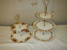 A Royal Albert Old Country roses 2 tier cake stand together with a Colclough 3 tier cake stand.