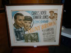 An old framed and glazed film poster.