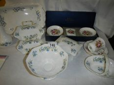 A Worcester three piece set and a quantity of Crown Staffordshire china.