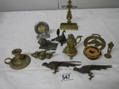 A mixed lot of small brass and bronze items including Chamber Candlestick, animals, hat pin stand,