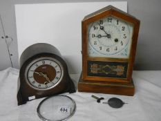 2 old mantel clocks for spare or repair although springs ok.