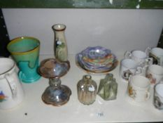 A mixed lot of china and glass ware including commemorative.