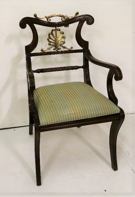 Lot 9 - Mahogany Carver Armchair, with brass top rail and central panel, stripped seat