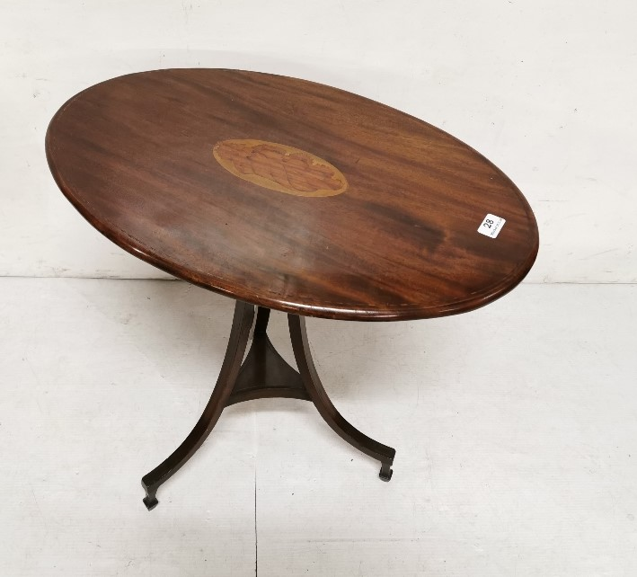 Lot 28 - Low sized Inlaid Mahogany Occasional Table on a tripod base, 63cm w x 58cm h