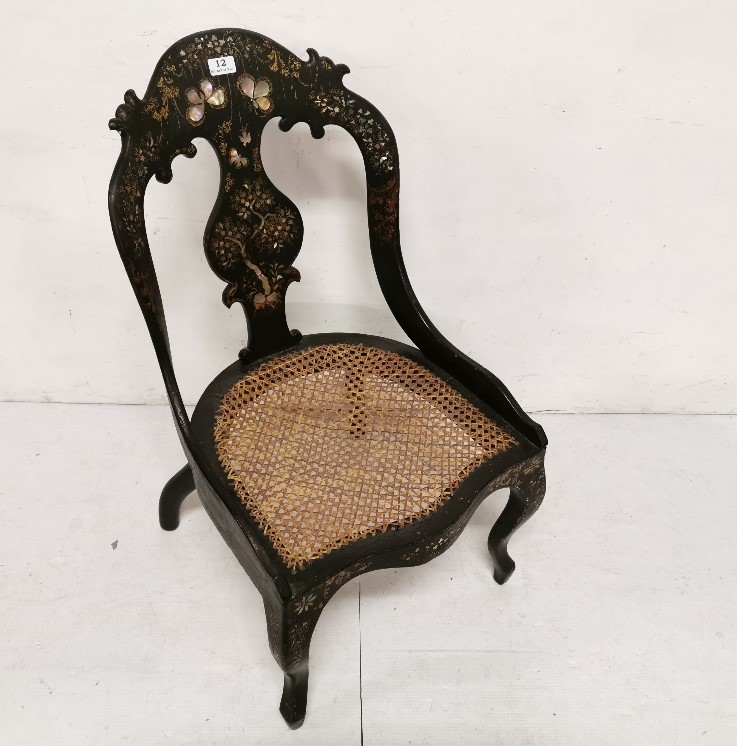 Lot 12 - Papier Mache Occasional Chair, with mother of pearl inlay, bergère seat, cabriole legs