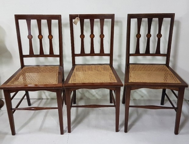 Lot 31 - Set of 3 inlaid Edw. Side Chairs, bergere seats, tapered legs