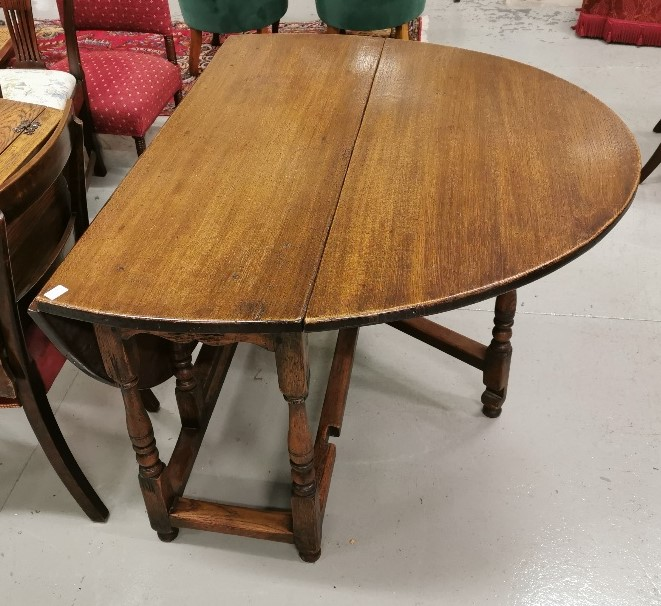 Lot 13 - Oak Draw Drop Leaf Dining/Side Table, with oval ends, turned legs, stretcher, extends to 163cm W x