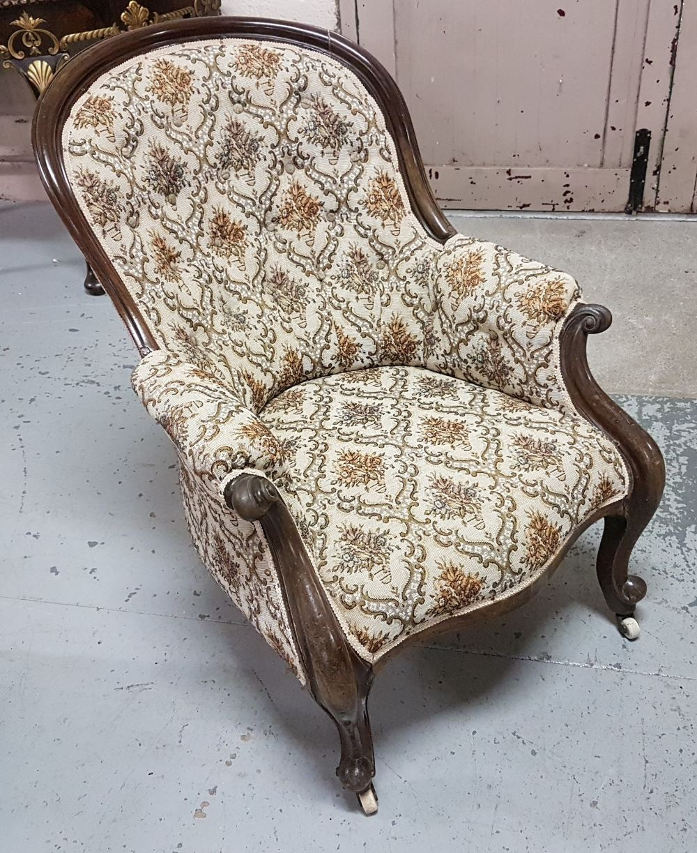 Lot 3 - Victorian Mahogany Framed Cabriole Leg Armchair, brown floral fabric