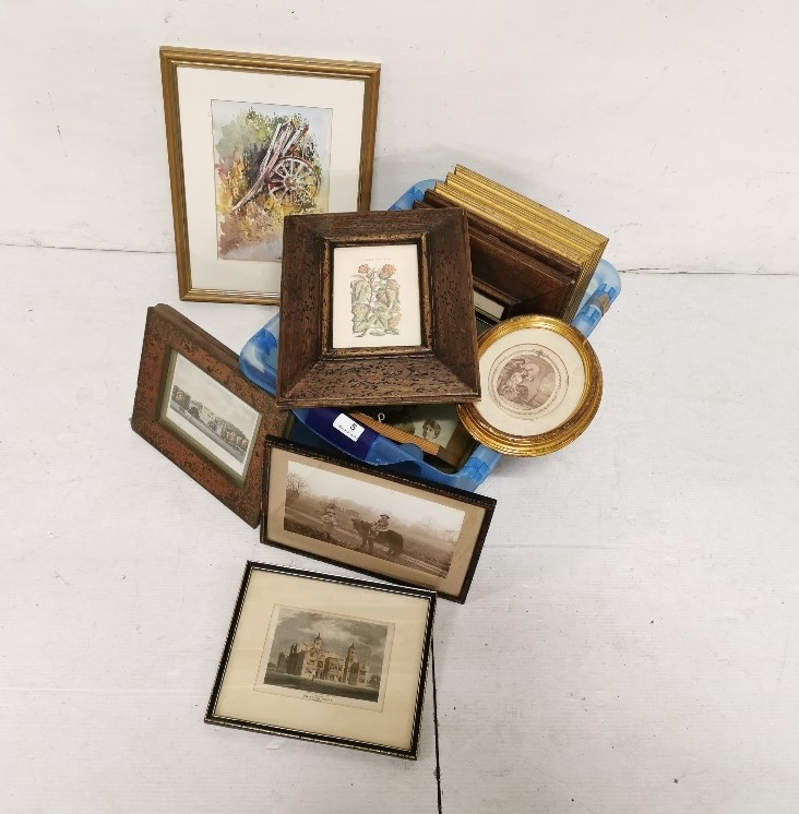 Lot 5 - Box of small prints and watercolours – old photographs, flowers etc