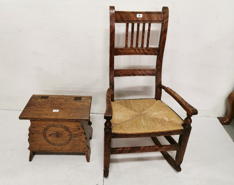 Lot 4 - Oak Shoe Box with a hinged lid & a walnut rocking chair, rope seat (2)