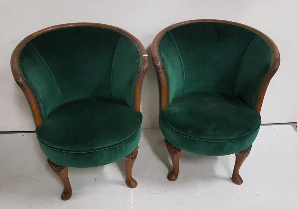 Lot 7 - Matching pair of mahogany framed low sized Victorian Tub Chairs, green velvet padded seat and back