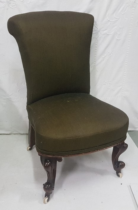 Lot 24 - Victorian Nursing Chair, on cabriole legs, covered with good green satin/silk fabric